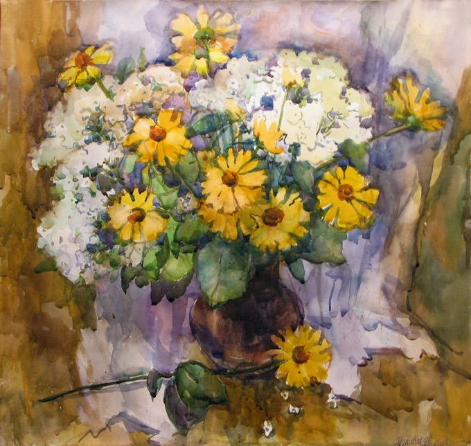 Живопись цветы акварель букет с дачи